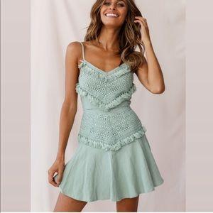 Selfie Leslie Janey appliqué ALine Dress Pistachio